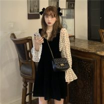 Fashion suit Spring 2021 Average size Polka Dot top, suspender skirt 18-25 years old