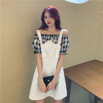 Dress Summer 2021 White, black Average size Short skirt Fake two pieces Short sleeve commute Crew neck High waist lattice Socket other routine camisole 18-24 years old 30% and below other cotton