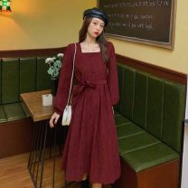 Dress Autumn 2020 Black, maroon Average size Miniskirt singleton  Long sleeves commute square neck middle-waisted Solid color A-line skirt routine Others 18-24 years old Type A Other / other Korean version bow