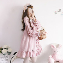 Dress Winter of 2018 Picture color Average size Mid length dress singleton  Long sleeves Sweet Under 17 solar system