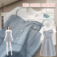 Dress Summer 2021 Denim blue skirt [pre sale] M L XL XXL XXXL XXXXL Middle-skirt Two piece set Short sleeve commute Crew neck middle-waisted Socket other Others 18-24 years old Numen button literature R29-5181 More than 95% other Other 100%