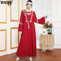 Dress Autumn 2020 gules M. L, XL, 4XL, XXL, XXXL longuette singleton  Long sleeves street Crew neck High waist Decor Socket Big swing routine Others 25-29 years old Three dimensional decoration 51% (inclusive) - 70% (inclusive) other Europe and America