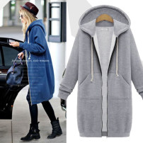 Women's large Winter of 2019, autumn of 2019, spring of 2020 Gray [quality assurance], black [quality assurance], blue [quality assurance] singleton  commute easy Cardigan Long sleeves Solid color Korean version Hood Medium length routine Other / other pocket zipper