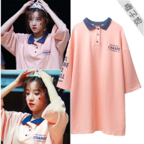 Dress Autumn of 2018 Orange pink S,M,L Mid length dress singleton  three quarter sleeve commute Polo collar Others Type H Korean version 81% (inclusive) - 90% (inclusive) other cotton
