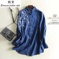 shirt Light blue, dark blue M, L Autumn of 2019 cotton 71% (inclusive) - 80% (inclusive) Long sleeves Medium length Polo collar Single row multi button