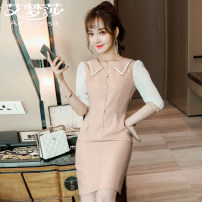 Dress Spring 2021 21800 apricot dress 21800 grey dress S M L XL XXL XXXL 4XL Middle-skirt singleton  three quarter sleeve commute square neck High waist Solid color Socket One pace skirt routine Others 25-29 years old Type A Aimounsa Korean version Stitching buttons A19-21800 Chiffon polyester fiber