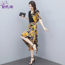 Dress Summer 2021 black S M L XL XXL Mid length dress Two piece set Short sleeve commute V-neck High waist Broken flowers Socket A-line skirt routine Others 25-29 years old Hangyi Pavilion Korean version Three dimensional decorative printing with lace up HYG219265 More than 95% Chiffon Polyester 100%