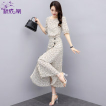 Dress Summer 2021 Salix fragrans S M L XL longuette Two piece set elbow sleeve commute Crew neck High waist Broken flowers Socket Pleated skirt routine Others 25-29 years old Hangyi Pavilion Korean version Three dimensional decorative zipper printing with pleated stitching HYG216619 More than 95%