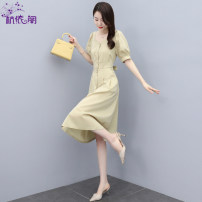 Dress Summer 2021 Leaf green of light Khaki pine M L XL XXL Mid length dress singleton  Short sleeve commute V-neck High waist Solid color Single breasted A-line skirt routine Others 25-29 years old Hangyi Pavilion Korean version Three dimensional decorative button with pocket panel HYG2161711 cotton