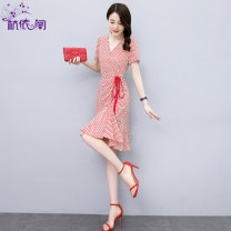 Dress Spring 2021 Red and black M L XL XXL Middle-skirt singleton  Short sleeve commute V-neck High waist Dot Socket A-line skirt routine Others 25-29 years old Hangyi Pavilion Korean version Three dimensional decoration with pleated lace up HYG2102037 More than 95% Chiffon polyester fiber