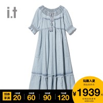 Dress Summer 2021 Bll / light blue BLX / dark blue XS S longuette 25-29 years old free people FPPDSOB12378G More than 95% cotton Cotton 100% Same model in shopping mall (sold online and offline)