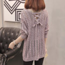 Wool knitwear Spring of 2018 L S M XL Long sleeves singleton  Socket other More than 95% Regular Thin money commute easy V-neck routine Solid color Socket Korean version Warm sun in the afternoon Crochet hollow out lace up bowknot resin fixation Other 100% Pure e-commerce (online only)