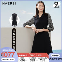 Dress Spring 2021 black 38/M 40/L 42/XL 44/XXL 46/XXXL Middle-skirt singleton  three quarter sleeve commute tailored collar middle-waisted Solid color zipper Irregular skirt routine 35-39 years old Type X Naersi / nals Ol style More than 95% polyester fiber Polyester 100%
