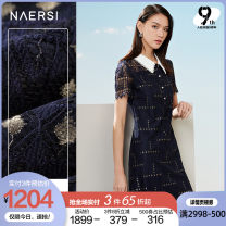 Dress Summer 2021 Dark Turquoise 38/M 40/L 42/XL 44/XXL 46/XXXL Middle-skirt Short sleeve commute Doll Collar middle-waisted other zipper A-line skirt routine 35-39 years old Type X Naersi / nals lady NF05309Q7 More than 95% Lace nylon Polyamide (nylon) 94.9% polyester 4.0% others 1.1%