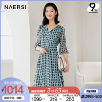 Dress Spring 2021 Greyish blue green 38/M 40/L 42/XL 44/XXL 46/XXXL Mid length dress singleton  Short sleeve commute V-neck middle-waisted stripe zipper A-line skirt routine 35-39 years old Type X Naersi / nals lady NF03809K4 More than 95% other polyester fiber Polyester 100%