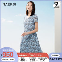 Dress Summer 2021 38/M 40/L 42/XL 44/XXL 46/XXXL Middle-skirt Short sleeve V-neck middle-waisted Abstract pattern zipper A-line skirt routine 35-39 years old Type X Naersi / nals More than 95% polyester fiber Polyester 100% Same model in shopping mall (sold online and offline)