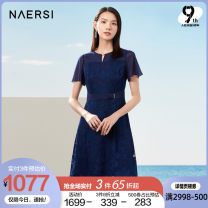 Dress Summer 2021 Dark cyan Middle-skirt Short sleeve commute Crew neck middle-waisted Solid color zipper A-line skirt Wrap sleeves 35-39 years old Type X Naersi / nals lady More than 95% Lace polyester fiber Polyester 100% Same model in shopping mall (sold online and offline)