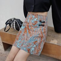skirt Spring 2021 S,M,L orange Short skirt street High waist A-line skirt Type A 18-24 years old 31% (inclusive) - 50% (inclusive) JASUMMER other zipper Europe and America