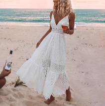 Dress Summer 2020 white S,M,L longuette Sleeveless V-neck High waist Solid color 30% and below