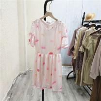 Dress Summer 2021 Foundation print Average size Middle-skirt Short sleeve Sweet V-neck 25-29 years old A@C-3-2