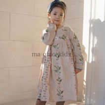 Dress Light pink female Other / other 80cm,90cm,100cm,110cm,120cm,130cm,140cm Other 100% No season Korean version Long sleeves Solid color cotton A-line skirt Chinese Mainland
