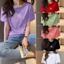 T-shirt White, black, red, green, pink, taro purple M,L,XL,2XL,3XL,4XL,5XL Summer 2020 Short sleeve Crew neck easy Regular routine cotton 96% and above 18-24 years old Other / other five six seven nine