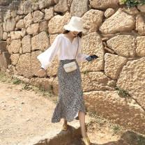 skirt Autumn of 2019 XS,S,M As shown in the figure Mid length dress Versatile Irregular Leopard Print Type A FAN STUDIOS