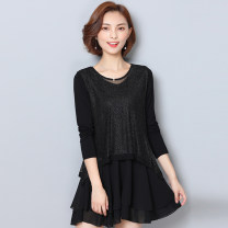 Women's large Spring of 2019, autumn of 2019 black XL (120-135 kg recommended), 2XL (135-150 kg recommended), 3XL (150-165 kg recommended), 4XL (165-180 kg recommended), 5XL (180-200 kg recommended) Dress singleton  commute easy moderate Socket Long sleeves Solid color Crew neck Medium length LL12791
