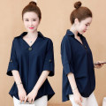 Women's large Summer 2020 shirt singleton  commute easy thin Socket Short sleeve Solid color Ol style Polo collar routine polyester Three dimensional cutting routine Button 96% and above