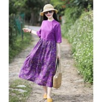 Dress Summer 2021 Taro purple {ordinary version}, taro purple {high quality version} M,L,XL,2XL,3XL,4XL longuette singleton  Long sleeves commute Crew neck Loose waist Solid color Single breasted A-line skirt shirt sleeve Others 25-29 years old Type A ethnic style 51% (inclusive) - 70% (inclusive)