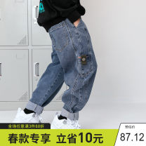 trousers Xiaoxing male 110cm,120cm,130cm,140cm,150cm,160cm,170cm,180cm Denim blue, denim blue with down, black with down, light blue spring trousers leisure time There are models in the real shooting Jeans Leather belt middle-waisted Cotton blended fabric Don't open the crotch Other 100% cnzk20803