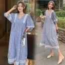Dress Other / other Blue, 1319 dark blue M,L,XL,XXL Korean version Short sleeve Medium length summer V-neck Decor Space cotton