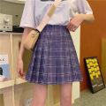 skirt Summer 2020 M,L,XL,2XL,3XL,4XL Purple check Short skirt commute High waist Pleated skirt lattice Type A 71% (inclusive) - 80% (inclusive) brocade polyester fiber Fold, splice Korean version