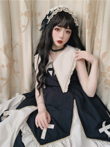 Dress Summer of 2019 Dress, dress + a set of black apricot hair band, hair band single beat to find customer service S,L,M Mid length dress Sleeveless Sweet Solid color 25-29 years old Type A Splicing other polyester fiber Lolita