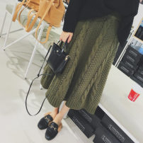skirt Winter of 2018 Average size White, army green commute High waist Solid color Type A 18-24 years old 31% (inclusive) - 50% (inclusive) knitting Korean version