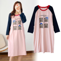 Home skirt Buyimamia / mummy in cloth Pink L [recommended 100-120 kg], XL [recommended 120-140 kg], 2XL [recommended 140-160 kg], 3XL [recommended 160-180 kg] Long sleeves spring and autumn Crew neck Thin money lovely Socket Solid color cotton pure cotton BY5028