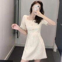 Women's large Summer 2021 Apricot Large L, large XL, s, M singleton  commute Short sleeve Korean version square neck other 18-24 years old 71% (inclusive) - 80% (inclusive) Short skirt