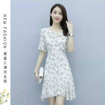Dress Summer 2021 Apricot S,M,L,XL longuette singleton  Short sleeve commute V-neck High waist Broken flowers Socket A-line skirt routine Others 25-29 years old Type A Korean version printing 71% (inclusive) - 80% (inclusive) Chiffon polyester fiber