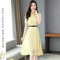 Dress Summer 2021 yellow S,M,L,XL,2XL Mid length dress singleton  Short sleeve commute Polo collar High waist Solid color Socket A-line skirt routine Others 25-29 years old Type A Ol style Button 71% (inclusive) - 80% (inclusive) Chiffon polyester fiber