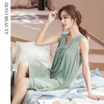 Nightdress Other / other M recommended body weight 80-100, l recommended body weight 100-120, XL recommended body weight 120-140, 2XL recommended body weight 140-160, 3XL recommended body weight 160-180 Simplicity Sleeveless Leisure home Middle-skirt middle age V-neck other Modal fabric