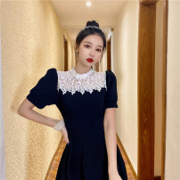 Dress Summer 2021 Black lace patchwork dress S,M,L Short skirt singleton  Short sleeve commute Crew neck High waist Solid color Socket A-line skirt puff sleeve Others 18-24 years old Type A Korean version Sequins #22942 31% (inclusive) - 50% (inclusive) other