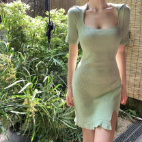 Dress Summer 2021 green Average size Middle-skirt singleton  Short sleeve commute square neck High waist Solid color Socket A-line skirt other Others 18-24 years old Type A Korean version 9338# 51% (inclusive) - 70% (inclusive) other