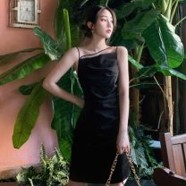 Dress Summer 2021 Apricot, black S, M Middle-skirt singleton  Sleeveless commute square neck High waist Solid color Socket One pace skirt other camisole 18-24 years old Type A Korean version