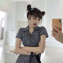 Dress Summer 2021 Picture color Average size Short skirt singleton  Short sleeve commute Polo collar High waist Decor Socket A-line skirt other Others 18-24 years old Type A Korean version printing 31% (inclusive) - 50% (inclusive) cotton