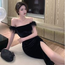Dress Spring 2021 black S,M,L Mid length dress singleton  Short sleeve commute One word collar High waist Solid color Socket A-line skirt other camisole 18-24 years old Type A Other / other Korean version