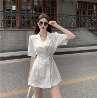 Dress Summer 2021 White, black Average size Middle-skirt singleton  Short sleeve commute tailored collar High waist Solid color double-breasted A-line skirt Others 18-24 years old Type A Korean version Button 8926# other