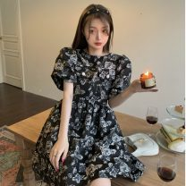 Dress Summer 2021 Embroidered rose Average size Middle-skirt singleton  Short sleeve commute Crew neck High waist Solid color Socket A-line skirt puff sleeve Others 18-24 years old Type A Korean version