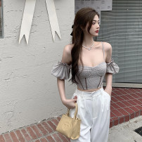 Dress Summer 2021 Coat, dress S, M Short skirt Two piece set Short sleeve commute V-neck High waist Solid color Socket A-line skirt puff sleeve Others 18-24 years old Type A Korean version