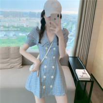 Dress Summer 2020 Blue lattice S, M Middle-skirt singleton  Short sleeve commute tailored collar High waist lattice double-breasted A-line skirt other Others 18-24 years old Type A Korean version other other