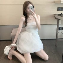 Dress Summer 2021 Picture color S, M Middle-skirt singleton  Sleeveless commute square neck High waist Solid color Socket A-line skirt other Others 18-24 years old Type A Korean version 8058#